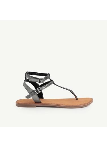 Yargıcı Deri Sandalet Gri